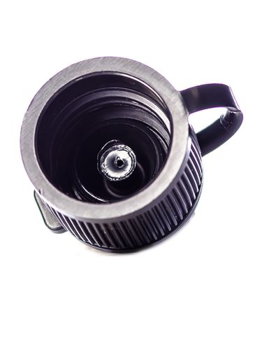 Black PP plastic 15-410 ribbed skirt dispensing lid with strap cap
