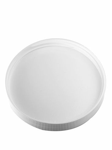 White PP plastic 89-400 ribbed skirt lid with unprinted pressure sensitive (PS) liner