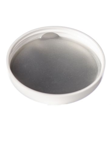 White PP plastic 70-400 dome lid with tri-tab heat induction seal (HIS) liner