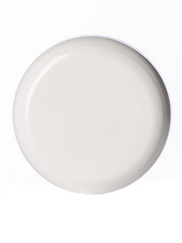 White PP plastic 83-400 dome lid with universal heat induction seal (HIS) liner