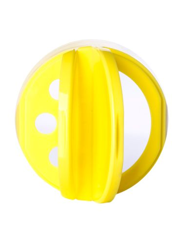 Yellow PP plastic 53-485 smooth skirt 3-hole flip top sifter spice cap with heat induction seal (HIS) liner