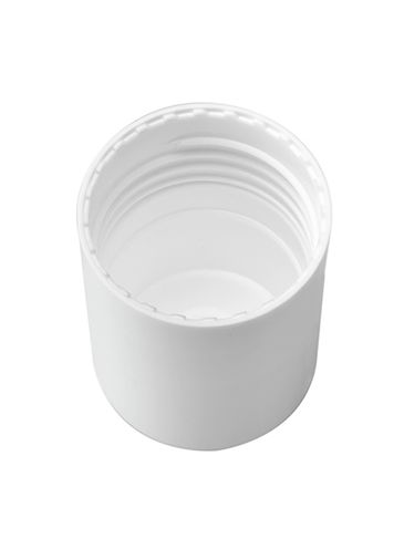 White PP plastic smooth skirt screw cap for 30 ml glass roll on bottle (test for product compatibility)