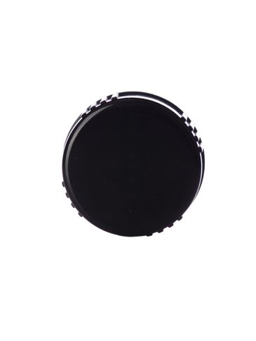 Black PP plastic 24-400 ribbed skirt lid with PP plastic polycone liner