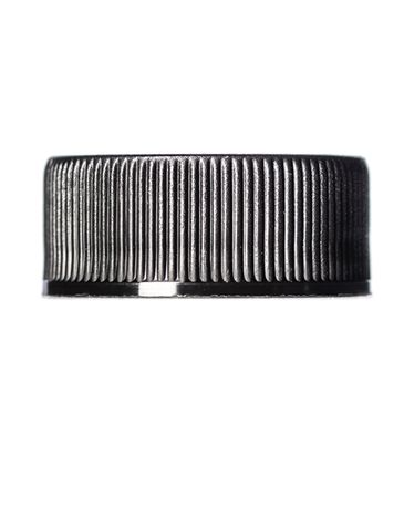 Black PP plastic 24-400 ribbed skirt lid with foam liner and universal heat induction seal (HIS) liners