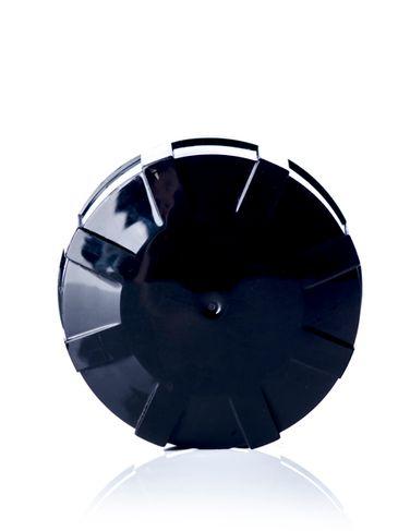Black PP plastic 38-430 buttress cap with printed pressure sensitive (PS) liner