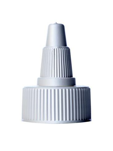 White LDPE plastic 24-400 ribbed skirt twist-open dispensing cap