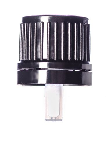Black HDPE plastic 18 mm tamper-evident dropper cap with inverted dropper tip with (0.9 mm orifice)