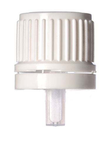 White PP plastic 18 mm tamper-evident dropper cap with inverted dropper tip with (0.9 mm orifice)