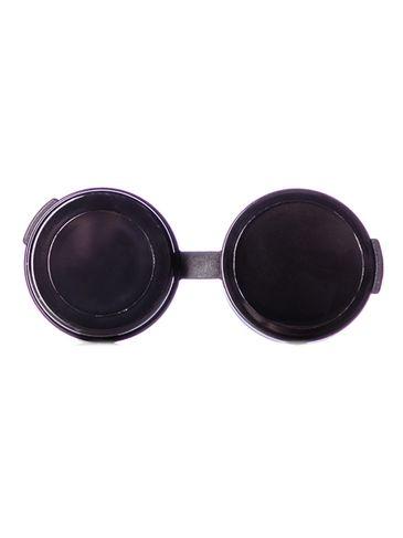 1/4 oz black PP plastic hinged container