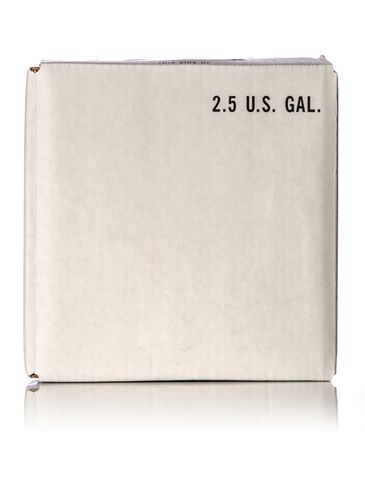 White paperboard carton for 2.5 gallon cubitainer