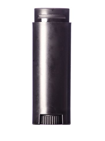1/8 oz black PP plastic oval-shaped lip balm tube with dial (lid not included)