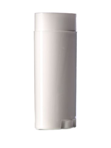 2.5 oz white PP plastic oval-shaped deodorant container with dial