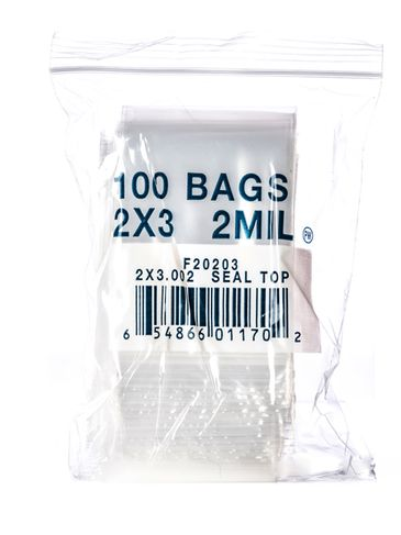 2 x 3 inch clear 2 mil thick bag with zip lock seal