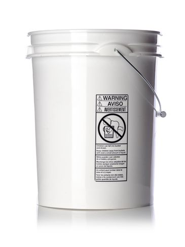 5 gallon white HDPE plastic pail of 70 mil thickness with handle