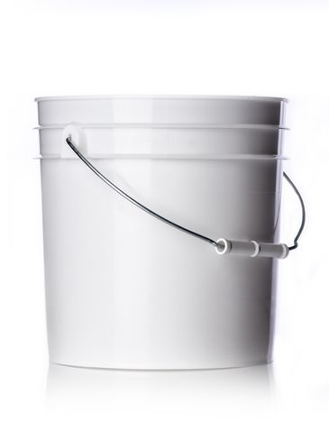 2 gallon white HDPE plastic pail of 70 mil thickness with handle