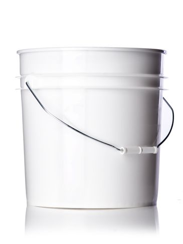 4.25 gallon white HDPE plastic pail of 90 mil thickness with handle