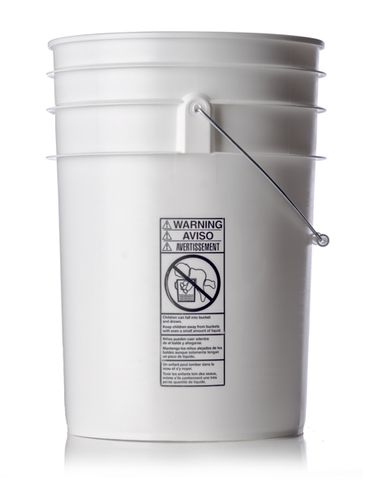 6 gallon white HDPE plastic pail of 90 mil thickness with handle