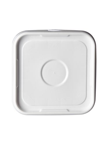 4 gallon white HDPE plastic square pail lid with tear-tab (no gasket) of 55 mil thickness