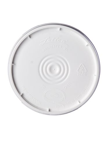 White HDPE plastic tear-tab lid with gasket of 75 mil thickness for 2 gallon round pail