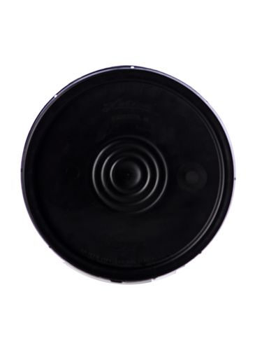 Black HDPE plastic tear-tab lid with gasket of 90 mil thickness