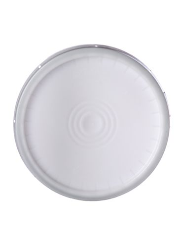 Natural-colored HDPE plastic tear-tab lid with gasket of 90 mil thickness