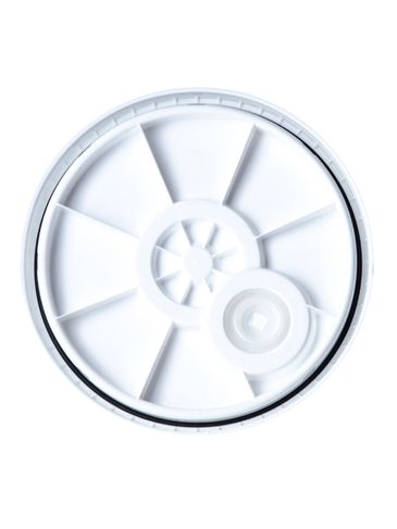 White HDPE plastic UN rated vented lid of 90 mil thickness with gasket and pour spout
