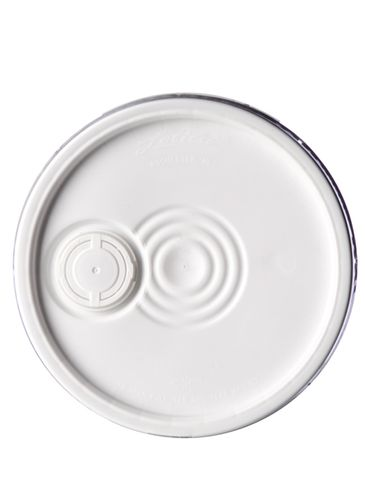 White HDPE plastic round pail lid with pour spout and gasket of 90 mil thickness