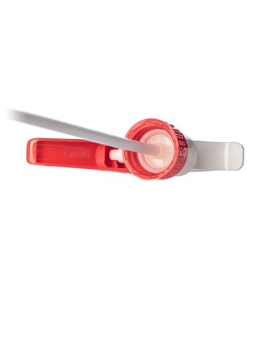 Red and white plastic 28-400 adjustable nozzle trigger sprayer with 9 inch dip tube (1.4 cc output)