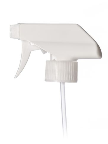 White PP plastic 28-410 ribbed skirt spray/stream/off nozzle trigger sprayer with 9.875 inch dip tube (0.9 cc output)