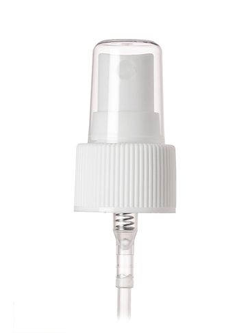 White PP plastic 24-410 ribbed skirt fine mist fingertip sprayer with clear overcap and 6.9 inch dip tube (0.18 cc output)