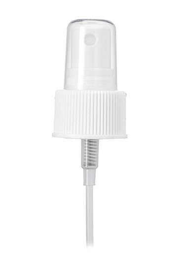 White PP plastic 24-410 ribbed skirt fine mist fingertip sprayer with clear overcap and 6.25 inch dip tube (.16 cc output)