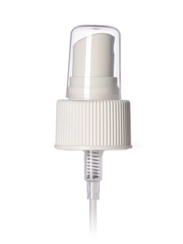 White PP plastic 24-410 ribbed skirt fine mist fingertip sprayer with clear overcap and 7 inch dip tube (.16 cc output)