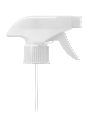 White plastic 28-410 ribbed skirt spray/stream/off nozzle trigger sprayer with 9.875 inch dip tube (0.8 - 1 cc output)