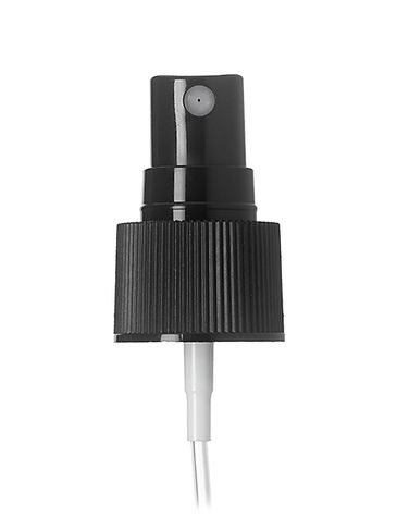 Black PP plastic 24-410 ribbed skirt fine mist fingertip sprayer with clear overcap and 6.875 inch dip tube (0.16 cc output)