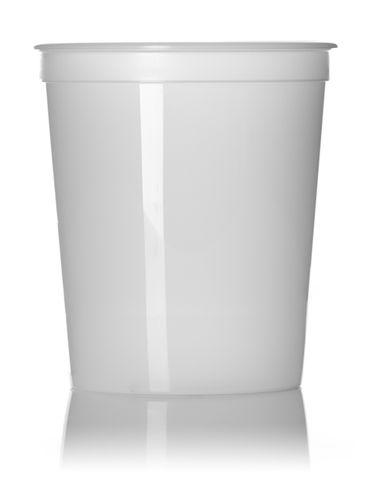 32 oz natural-colored HDPE plastic round tub