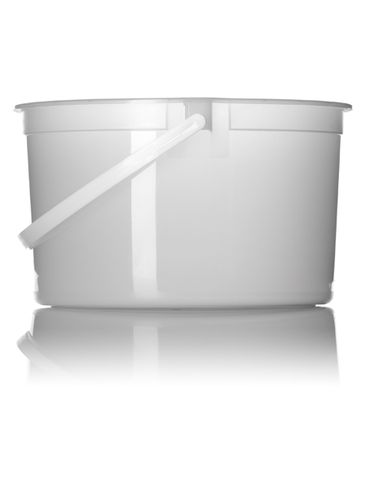 128 oz natural-colored HDPE plastic round tub with handle
