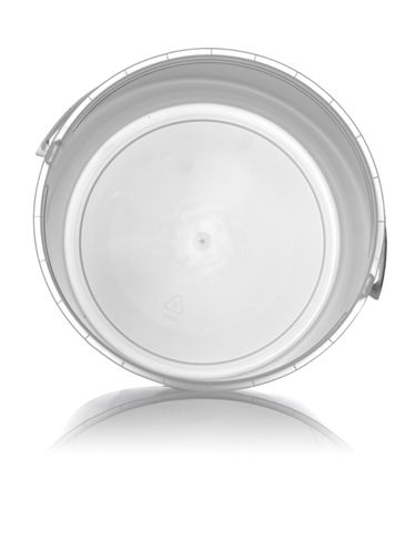 160 oz natural-colored HDPE plastic round tub with handle