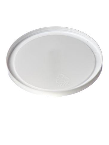 White HDPE plastic 3.5625 inch flat tub lid