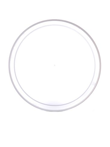Natural-colored LDPE plastic 4.625 inch flat tub lid