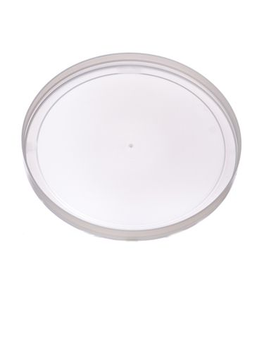 Natural-colored LDPE plastic 5.9375 inch long-skirted tub lid