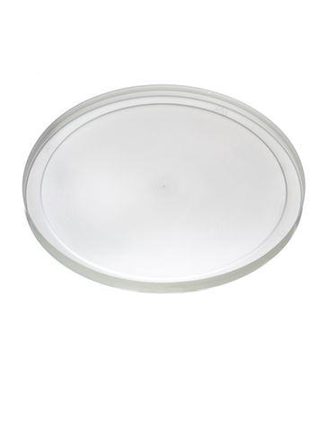 Natural-colored LDPE plastic 8.625 inch flat tub lid